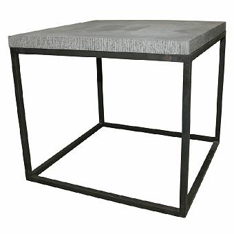 Iron and bluestone side table