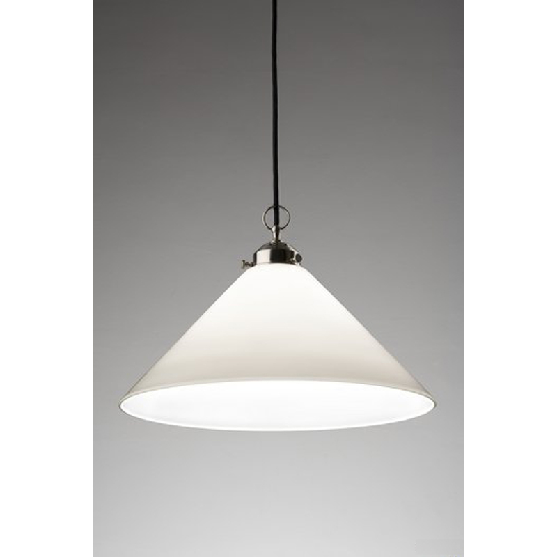 Pendant with conical milk glass shade